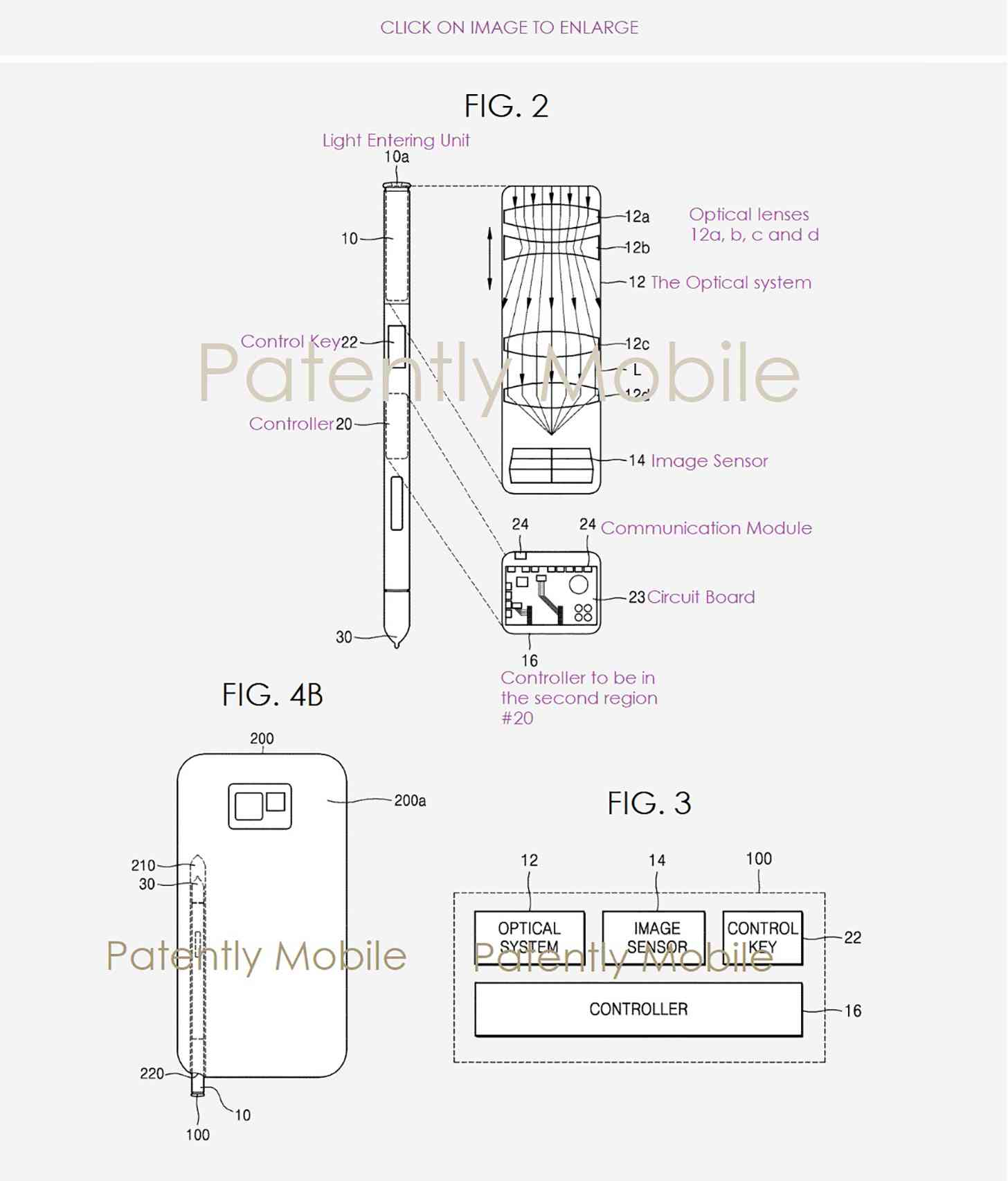 サムスンが米国特許商標庁で出願し認可されたSペンにカメラを搭載する内容