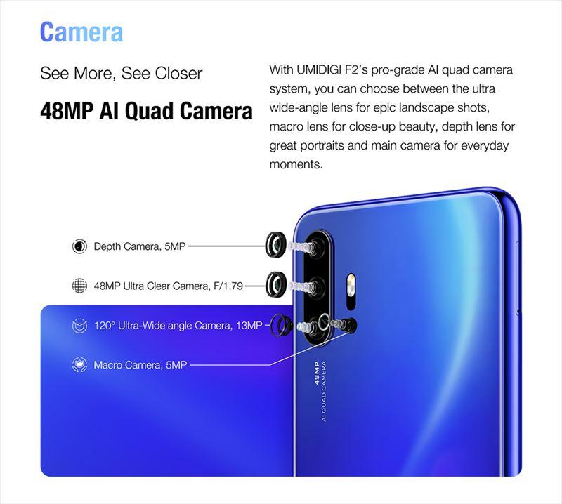 メインカメラはUMIDIGI初のクアッドカメラを搭載