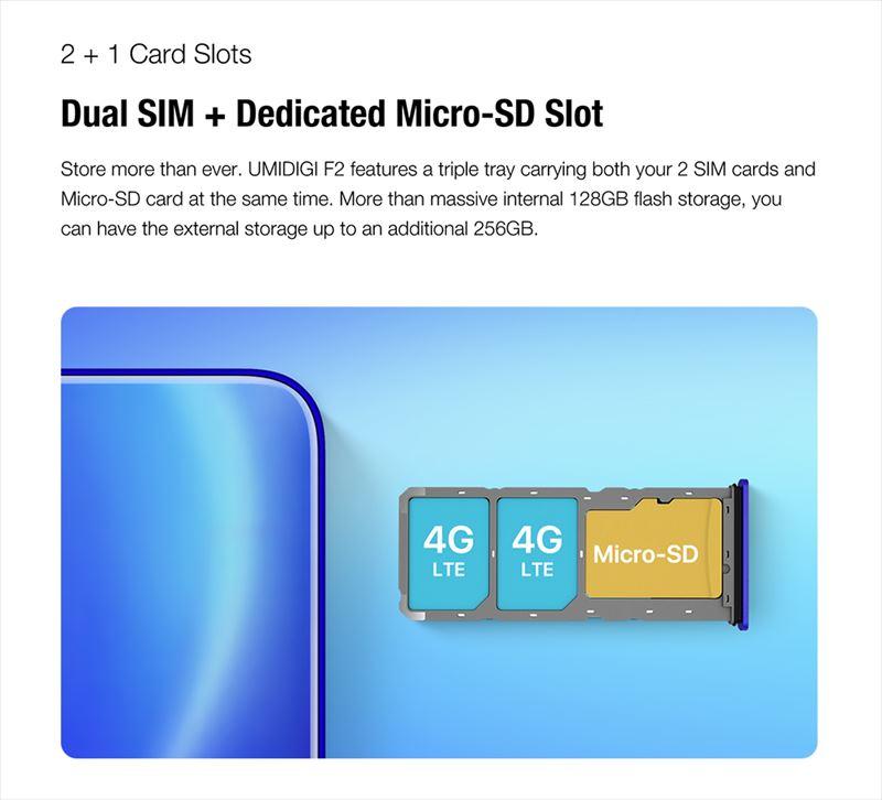 MicroSDカードも利用できるトリプルスロット