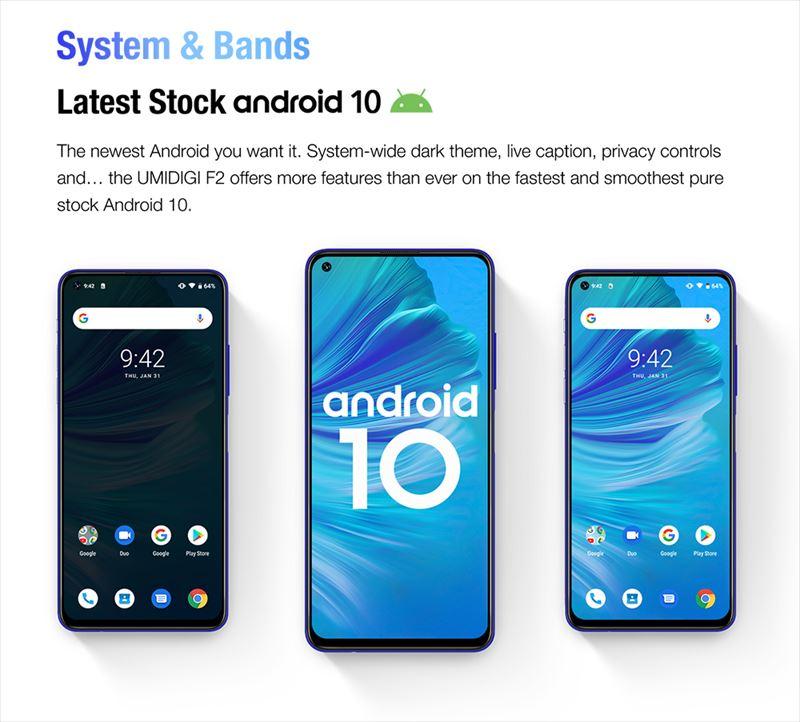 OSは最新のAndroid10を採用