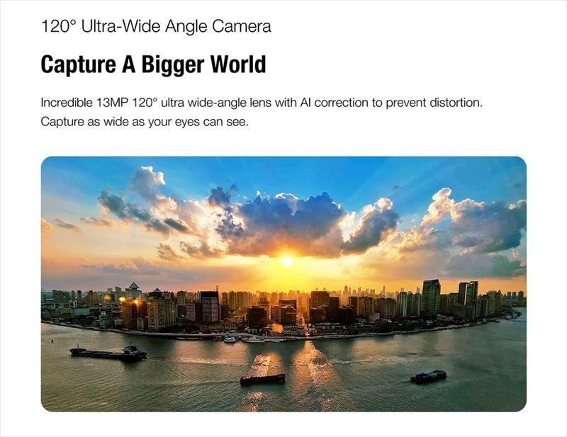 視野角120度の広域を撮影することができる1300万画素のワイドカメラ